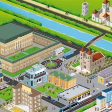 rossella piccini illustrazione scolastica città
